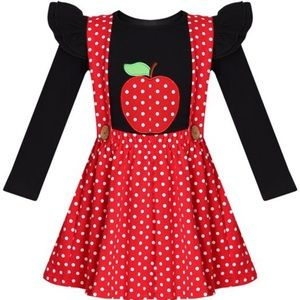 Red and white polkadot jumper with black apple tee